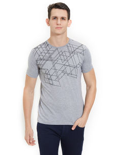 Easies by Killer Printed Grey Color Cotton Slim Fit T-Shirt