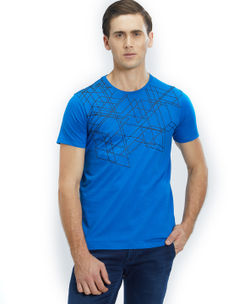 Easies by Killer Printed Blue Color Cotton Slim Fit T-Shirt