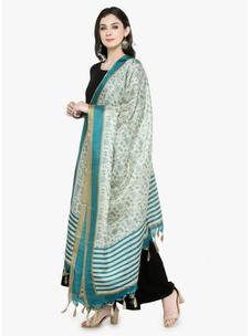 Varanga Ivory Turquoise Blue Bhagalpuri Dupatta