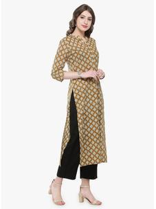 Varanga Mustard Printed Kurta with Black solid pants