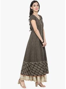 Varanga Olive Printed Kurta with ivory printed skirt