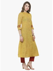 Varanga Mustard Solid Kurta with Rust solid cigarette pants