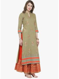 Varanga Olive Printed Kurta with Orange printed skirt