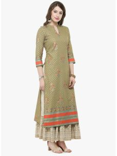 Varanga Olive Printed Kurta with Ivory printed skirt