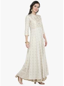 Varanga off white Gold Print Kurta with Ivory Printed Skirt