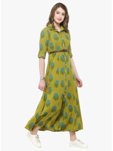 Varanga Green Floral Printed Shirt Dress