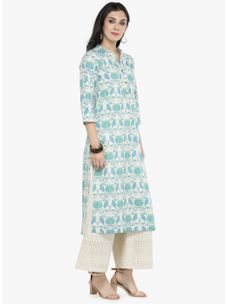 Varanga off white Printed Kurta with off white Solid palazzo