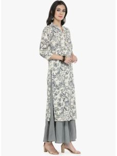 Varanga off white Floral Printed Kurta with Grey solid palazzo
