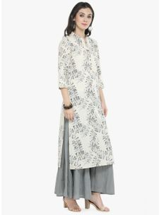 Varanga off white Printed Kurta with Grey Solid palazzo
