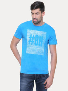 MID BLUE PRINTED T-SHIRT