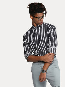 BLACK STRIPED CASUAL SHIRT