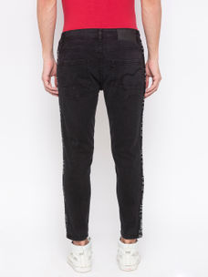 Men's Black skinny Cropped Fit Jeans