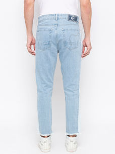 Men's Lt blue Tapered Cropped Washed Jeans