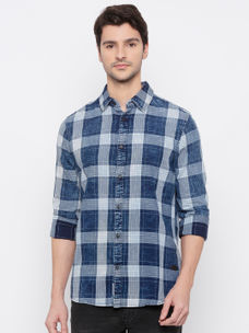 Men's Blue Indigo checks long sleeve comfort fit shirt
