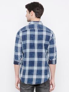 Men's Blue Indigo checks long sleeve comfort fit shirt