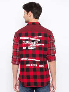 Men's Red checks  Long sleeve  over Fit shirt
