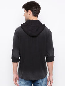 Men's Black long sleeve over fit shirt with Hood