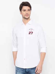 Men's  white Long sleeve slim Fit shirt