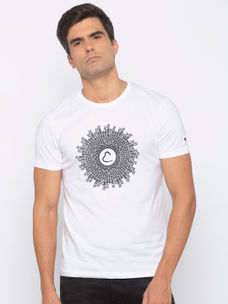 Mens Short Sleeve Crew Neck T-shirt with water print
