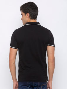 Mens Short Sleeve Polo Neck with Water Print +Emb