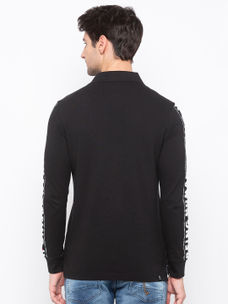 Mens Long Sleeve polo Neck with Water Print on both Sleeve