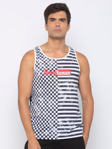 Mens Sleeveless Crew Neck Singlet with AOP +Plastisol PRINT