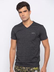 Mens Short Sleeve V Neck with Plastisol+HD Print