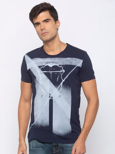 Mens Short Sleeve Crew Neck T-shirt with water & HD print