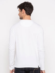 mens long Sleeve Crew Neck T-shirt with foil print
