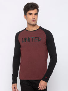 Mens Long Sleeve Crew Neck T-shirt with Shinny HD & water print