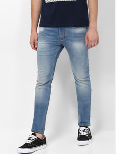 LIGHT BLUE SOLID STRAIGHT JEANS