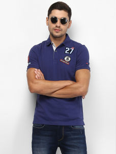 INK BLUE SOLID POLO T-SHIRT