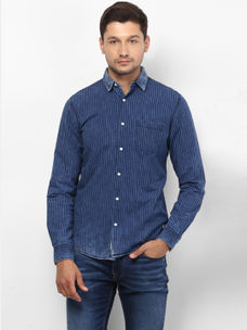 INDIGO STRIPED CASUAL SHIRT