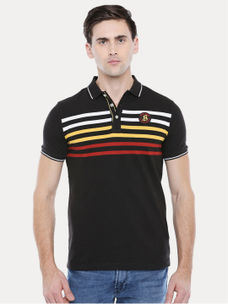 DARK BROWN STRIPED POLO T-SHIRT