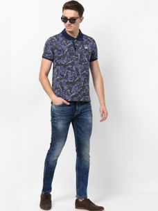ENGLISH BLUE PRINTED POLO T-SHIRT
