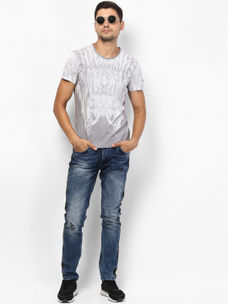 GREY PRINTED T-SHIRT