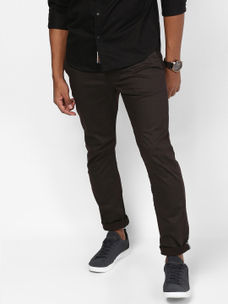 BROWN SOLID STRAIGHT CHINOS
