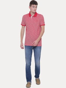 RED MELANGE POLO T-SHIRT