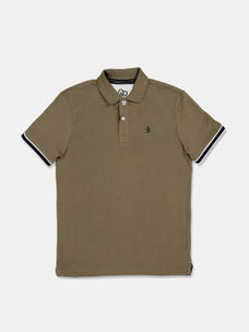 OLIVE SOLID POLO T-SHIRT
