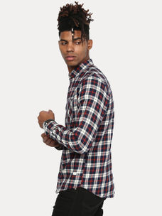 NAVY AND ECRU CHECKED CASUAL SHIRT