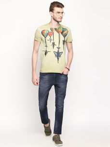 MOSS GREEN PRINTED T-SHIRT