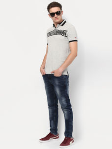 GREY MELANGE POLO T-SHIRT