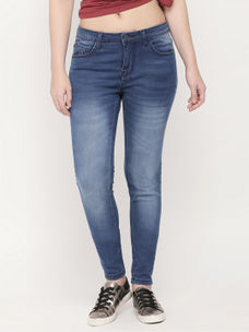 12cebbe454ef59 BLUE SOLID STRAIGHT JEANS