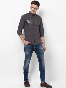 DARK GREY COLOURBLOCK CASUAL SHIRT