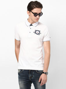 ECRU SOLID POLO T-SHIRT