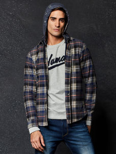 MULTICOLOURED CHECKED CASUAL SHIRT WITH HOOD