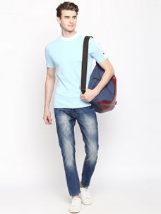 LIGHT BLUE MELANGE T-SHIRT