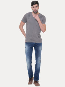 STONE GREY PRINTED T-SHIRT