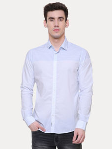 WHITE AND BLUE STRIPED CASUAL SHIRT