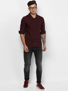 WINE SOLID CASUAL SHIRT